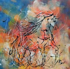 Tableau cheval en liberté - peintures-axelle-bosler : Peintures par peintures-axelle-bosler