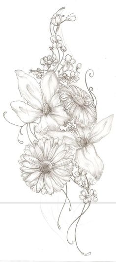 Beautiful flower sketch for tatoo Great Tattoos, Trendy Tattoos, Beautiful Tattoos, Tattoos For Women, Awesome Tattoos, Datum Tattoo, Tattoo Und Piercing, 1 Tattoo, Tattoo Thigh