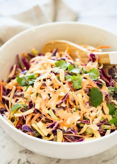 Asian Slaw is everything you love about coleslaw with a fantastic Asian twist! It's made with an Asian Mayonnaise Dressing and crunchy noodles for texture! Asian Slaw Salad, Coleslaw Salad, Coleslaw Dressing, Salad Recipes Healthy Vegetarian, Veg Recipes, Healthy Snacks, Salad Recipes Video, Coleslaw