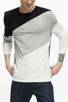 Fllay Mens Fashion Curve Hem Henley Shirt Slim Fit Crewneck Muscle Plain Tee Top T-Shirts