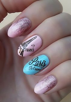 35 Pink And White Nails And Designs Pretty Nail Art, Beautiful Nail Art, Beautiful Nail Designs, Rose Gold Nails, White Nails, Pink Nails, Blue Nail, Paris Nail Art, Paris Nails