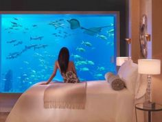 Dubai's Atlantis hotel: A bedroom looks onto the giant aquarium