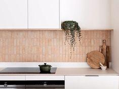Project Felix by Leÿer - Project Feature - Australian Coastal Architecture - The Local Project Decor, Brick Backsplash, Brick Tiles, Kitchen Splashback Tiles, Timber Cabin, Backsplash Trends, Home Decor, Coastal Architecture, Rustic Kitchen