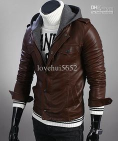 Handmade men slim brown leather jacket, men front flap and flap ...