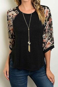 f02e238a60152 3 4 Sleeve Floral Print Round Neck Top