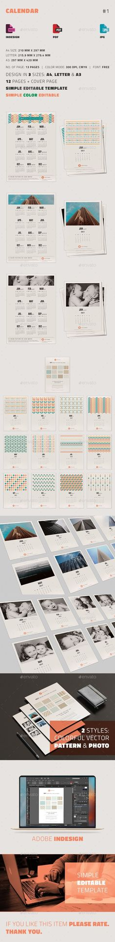 Printable Calendar 2017 - 2018, Desk Calendar PSD Download - Indesign Calendar Template