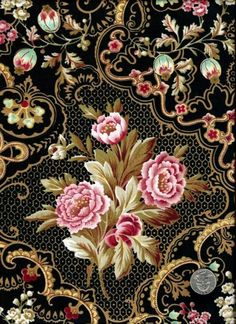 large floral reproduction whistler studios black ...
