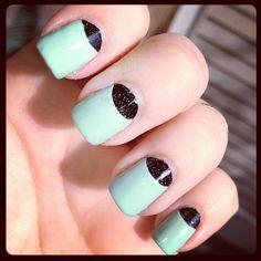 Mint & glitter half-moon mani!!