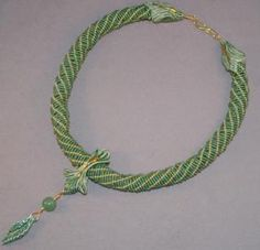 Beaded Ropes - Free Beading Patterns Made with Beaded Ropes: Dutch Spiral and Leafy Green Ceramic Slide Necklace