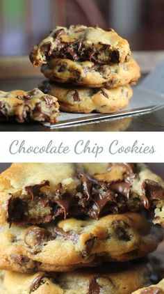 63 chocolate chip cookie recipes for the holidays. Chip Cookie Recipe, Cookie Recipes, Dessert Recipes, Easy Chocolate Chip Cookies, Chocolate Recipes, Yummy Treats, Delicious Desserts, Choco Chips, Dinner Recipes For Kids