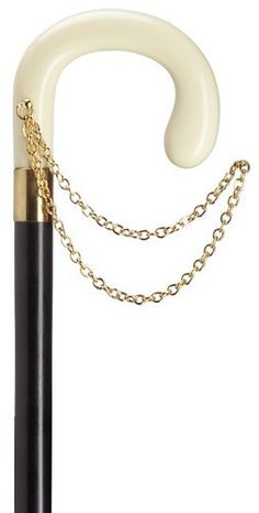 Ladies Crook Cane with Gold Chain