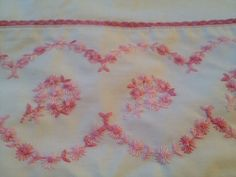 Vintage Cannon Twin Flat Sheet Pink Embroidered Flowers Lace. Shabby Chic EUC