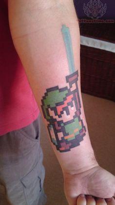 Legend of Zelda 8-bit Video Game Tattoo On Arm
