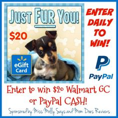 Here is another great giveaway just for you! Everyone loves to win CASH or you can pick a Walmart GC! Here's hoping you all have a relaxing Memorial Day Weekend and week ahead! ENTER TO WIN! One lucky reader will win $20 Walmart GC or PayPal CASH! The...