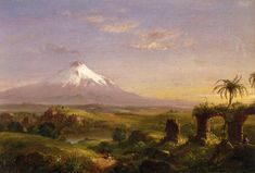 View of Mount Etna, 1844 by Thomas Cole. Romanticism. landscape. Private Collection