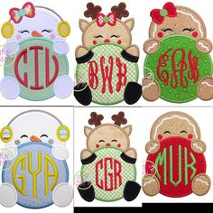 Sample Sale Christmas Snowman Reindeer Gingerbread initial name monogram Matching Boutique Bow brother sister boy girl Applique Personalized