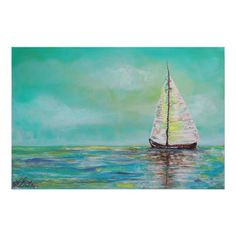 Customizable #Aquatic #Barbosa #Boat #Fantasy #Landscape #Marine #Maritime #Nautical #Ocean #Pastel #Sailboat #Sea #Seafoam #Seascape #Ship #Teal #Water Alone At Sea Poster available WorldWide on http://bit.ly/2gWw1tI