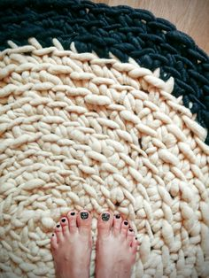 Chunky knit rug merino wool rug chunky yarn rug by OversizedLt