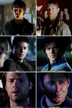 11x04 Baby / 1x01 Pilot / 2x20 What Is And What Should Never Be - Bitch and Jerk - Sam and Dean Winchester; Supernatural