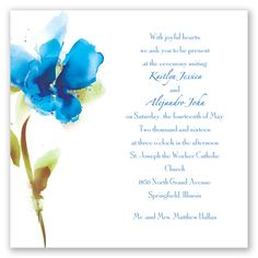Impress your guests with this soft, subtle and artsy invitation! The soft colors of a brushstroke create a beautiful horizon blue watercolor flower that adorns the left side of this marquis size, two-sided wedding invitation. More blooms and your names print on the back.   Product Details:    Invitation Size: 5 1/2' x 5 1/2'  Card Type:   Flat non-folding   Prints In: Flat, Digital Ink  Ink Color: Choose from a variety of ink options including David's Bridal exclusive co...