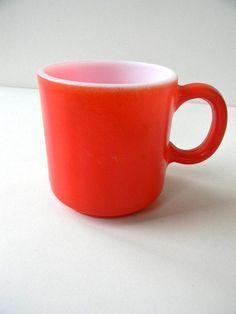 vintage orange red milk glass mug by snugsnuggery on Etsy, $8.00