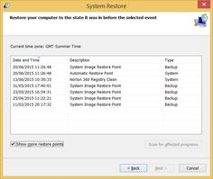 Screenshot of System Restore showing Restore Points on a Windows 8.1 Home Premium Laptop.  Taken on 20 June 2015.