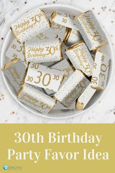 These White and Gold 30th Birthday Party Stickers are made to perfectly wrap around Hershey's®️ Miniatures Bars. #whiteandgold #30thbirthday #30thbirthdaydecor #30thbirthdaypartyfavor #birthday #birthdaydecor #birthdayidea
