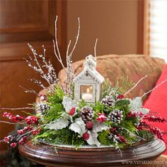 All Aglow #39813 see viviano.com Flower Shop Christmas holiday arrangement with keepsake lantern and fresh or silk evergreens