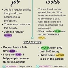 The difference between JOB and WORK #theenglishblog