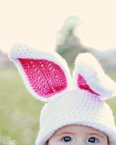 White bunny crochet hat -- How cute is this picture?!