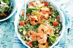 Couscous met pittige garnalen Pasta Salad, Cobb Salad, Barbecue, Potato Salad, Healthy Recipes, Healthy Meals, Healthy Food, Lunch, Dinner