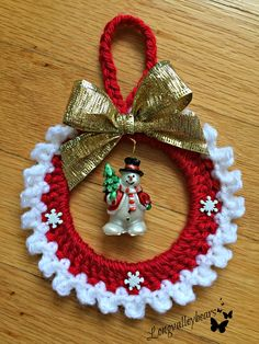 Hand Crochet Christmas Ornament, Snowman Ornament , wall hanging... by longvalleybears on Etsy https://www.etsy.com/listing/465332793/hand-crochet-christmas-ornament-snowman