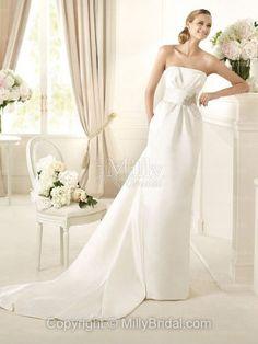 Satin Strapless Column Style With Embellished Beadings On Waistline Wedding Dress at Millybridal.com