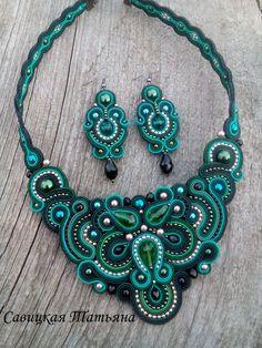 Soutache Statement Aquamarine Set-Soutache Aquamarine Necklace-Soutache Aquamarine Earrings-Soutache Embroidered-Soutache Jewelry
