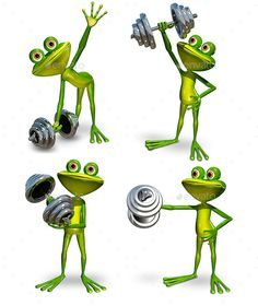 Frog with dumbbell Illustration a frog doing gymnastics sport dumbbells 4 JPEG 44805973, 4 PNG 44805973, 1 PSD Created in 3ds m