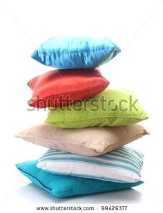 stock photo : bright pillows isolated on white