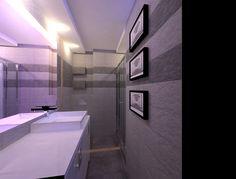Projekt małej łazienki w bloku. A design of a small bathroom in a block of flats. Small Bathroom, Bathtub, Flats, Design, Small Shower Room, Standing Bath, Loafers & Slip Ons, Bathtubs, Bath Tube
