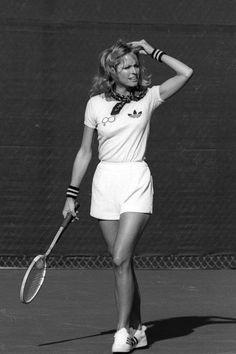 70s tennis style Farrah Fawcett