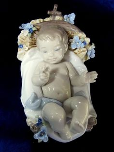 NEW LLADRO INFANT JESUS #8347 BRAND NIB BABY NATIVITY FLOWER CHRISTMAS SAVE$ F/S
