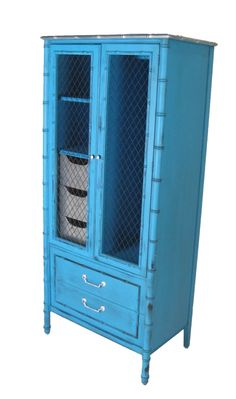 faux bamboo blue cabinet