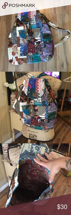 """Nwt gypsy patchwork backpack Handmade from  """"go fish"""" local beachside boutique - measures 17"""" x 14"""" drawstring and Velcro closure go fish Bags Backpacks"""