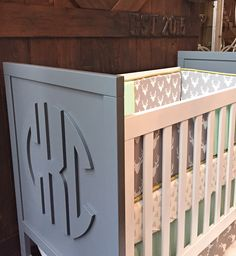 DIY Monogram Crib for under $350 (including the crib!) - LOVE this chic, preppy look for a nursery!