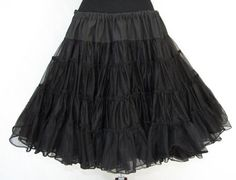 Frilly Flounce III - Vintage Crinoline Square Dance Petticoat, Black, Tiered Ruffles, Fluffy Cupcake Skirt, Sam's 660 Size Large