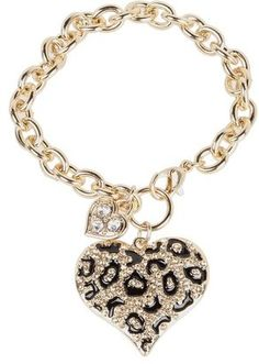 GUESS - Guess Gone Wild Animal Print Heart Charm Bracelet (Gold/Leopard) - Jewelry at ShopStyle