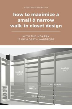 Tips for maximizing a small narrow walk in closet design using the Ikea PAX 13 inch depth wardrobe system. Closet ideas with the shallow Ikea PAX 13 in unit. Walk-in closet design ideas with drawers, shelf, pants hanger, and hanging space. #closetdesign #ikeacloset #narrowcloset