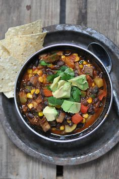 Vegetarian chili!- it's hearty, flavorful and good for you!  I just made this last night. It was fantastic. Putting it over brown rice gave it such a great texture!