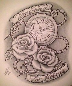 """""""Time Waits For Nobody"""" Pocket-Watch by Clock Tattoo Design, Sketch Tattoo Design, Tattoo Sketches, Tattoo Drawings, Tattoo Designs, Tattoo Ideas, Neue Tattoos, Body Art Tattoos, Cool Tattoos"""