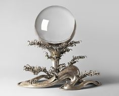 """aleyma: """" Crystal ball, made in China in the 19th century. Waves stand made in Japan in the 1st half of the 20th century (source). """""""