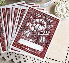 Bookplate Stickers- Vintage Burgundy Floral Watercolor