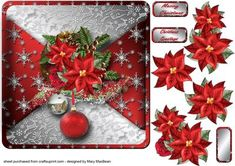 Snow for Christmas Mock Wrap Card Front on Craftsuprint designed by Mary MacBean - Card front with a mock wrap effect and decoupage featuring a colourful Christmas cluster. There are 2 sentiments or a blank tag for your own message.  - Now available for download!